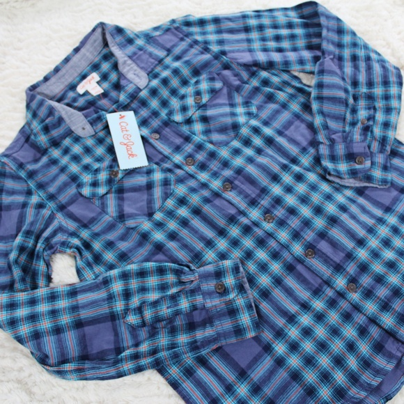 Cat /& Jack Green Plaid NWT Boys/' Long Sleeve Button-Down Shirt